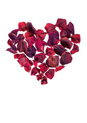 Heart of dried withered rose petals