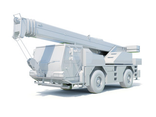Truck Mounted Crane on White
