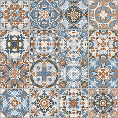 A collection of ceramic tiles in blue and brown retro colors. A set of square patterns in ethnic style. Vector illustration.