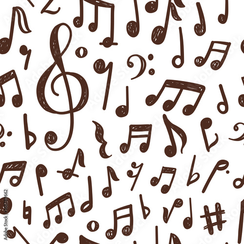 Seamless Pattern Design With Hand Drawn Musical Notes Stock Image