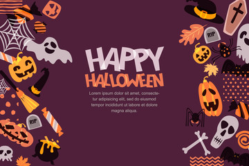 Happy Halloween vector horizontal banner with hand drawn doodle pumpkin, skull, witch hat, bones, candies, ghost, broom, cauldron. Design for holiday greeting card, poster, party invitation