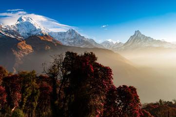 Annapurna Himalayas massif morning view with sunbeam in Gandaki Zone Nepal.