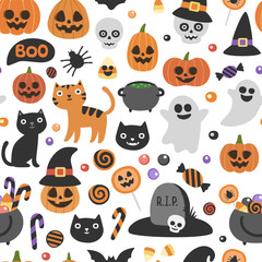 Vector cute seamless Halloween pattern. Smiling and funny cartoon characters: pumpkin, ghost, cat, bat, candy jar. Wrapping paper, wallpaper, repeating background
