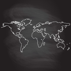 World map outline pattern  isolated on blackboard texture with chalk rubbed background. Vector illustration.