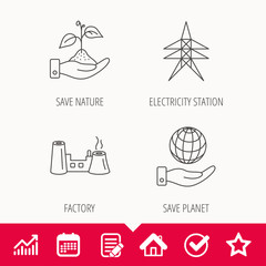 Save nature, planet and factory icons. Electricity station.