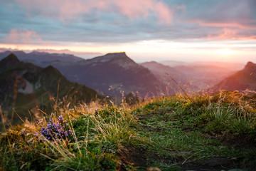 Sonnenuntergang auf dem Brienzer Rothorn, Berner Oberland, Schweiz