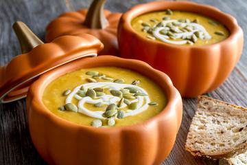 Homemade fresh pumpkin squash soup