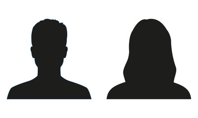 Man and woman silhouette. People avatar profile or icon. Vector illustration. Wall mural