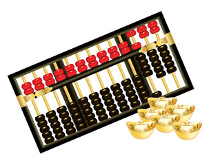 Chinese abacus with red and black beads