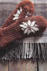 Mittens with wool plaid blanket