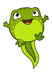 Vector cartoon illustration of cute happy joyful baby tadpole character, bright green in color.