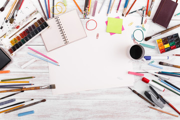 Post blog social media. View from above with copy space. Background for banner template layout mockup. White wooden table, top view on workplace. Desktop workplace designer, teamwork, painter top view