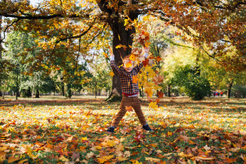 Kid playing with autumn leaves