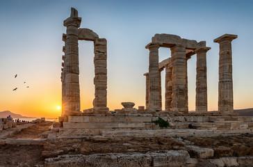 Die Säulen des Tempels von Poseidon bei Sonnenuntergang, Sounion, Attika, Griechenland