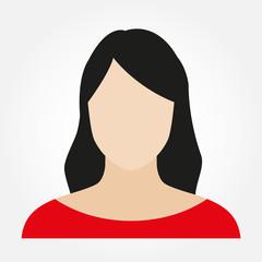 Woman avatar profile. Female face icon. Vector illustration.