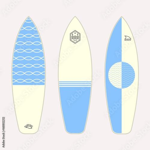 Surfboard Set Different Surfboards Design Vector Illustration
