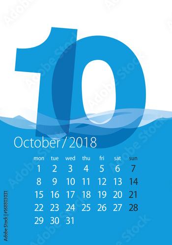 2018 Calendar Month October Water Blue Background Stockfotos Und