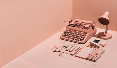 Pink typewriter and office supply