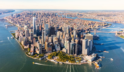 Spoed Foto op Canvas New York Aerial view of lower Manhattan New York City