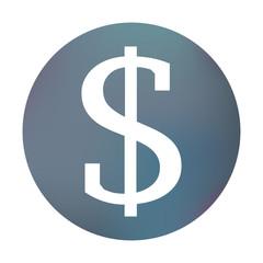 Farbiger Button - Dollarzeichen eckig