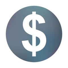 Farbiger Button - Dollarzeichen rund