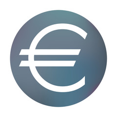 Farbiger Button - Eurozeichen dünn