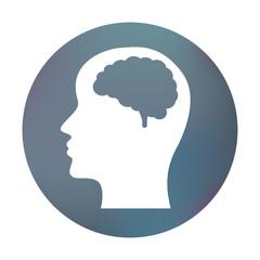 Farbiger Button - Gehirn im Kopf