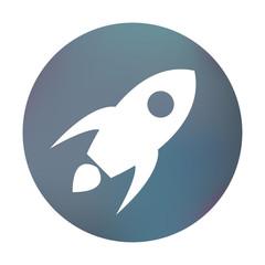 Farbiger Button - fliegende Rakete