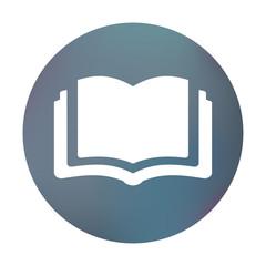 Farbiger Button - aufgeschlagenes Buch