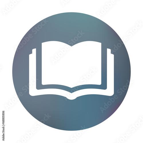 Farbiger Button - aufgeschlagenes Buch\