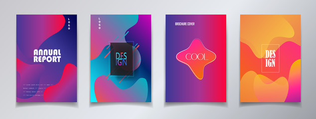 Modern brochure covers set, futuristic design. Abstract Diffuse colored spots dynamic background. Vector template minimalist poster