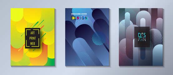 Modern brochure covers set, futuristic design. Abstract colored spots dynamic geometric shapes background. Vector template minimalist poster