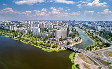 Wall Murals Kiev Aerial view of Rusanivka district of Kyiv, Ukraine