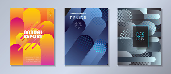 Modern brochure covers set, futuristic design Abstract Diffuse colored spots dynamic background. Vector template minimalist poster