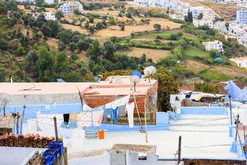 Blue wall of Chefchaouen, small town in northwest Morocco famous by its blue buildings