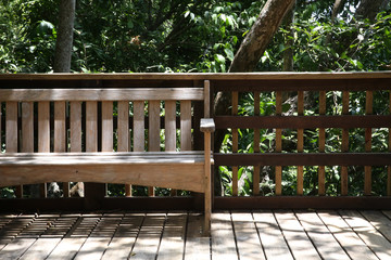 Wooden Bench on Porch in the Forest Woods