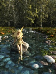 Pretty Blonde Fairy Paddling in a Forest Stream - fantasy illustration