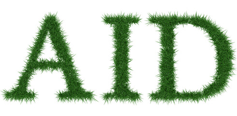 Aid - 3D rendering fresh Grass letters isolated on whhite background.