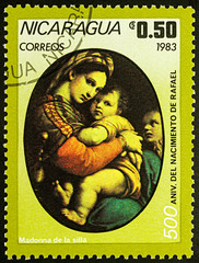 """Painting """"Madonna"""" by Raphael on postage stamp"""