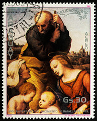 """Painting """"Holy Family"""" by Raphael on postage stamp"""