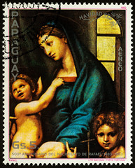 "Painting ""Holy Mary"" by Raphael on postage stamp"