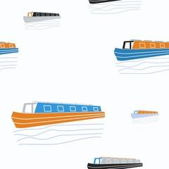 Editable Narrow Boat Vector Illustration Seamless Pattern