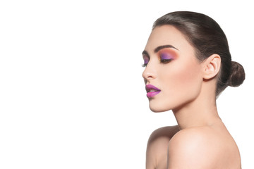 beautiful model with multicolor makeup