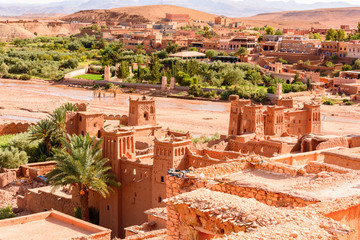 Kasr of Ait Benhaddou, a fortified city, the former caravan way from Sahara to Marrakech. UNESCO World Heritage, Morocco