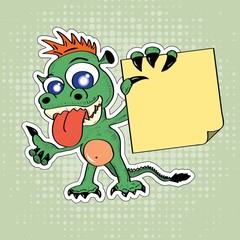 Funny cartoon style dragon with sticky note in his hand