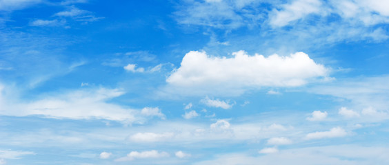 background cinematic ratio of bright blue sky and cumulus cloud at the day time