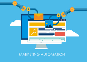 Marketing Automation. Computer with a site that builds the robot's hands.