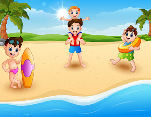 Children vacation at the beach