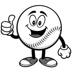 Baseball Mascot with Thumbs Up Illustration