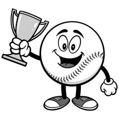 Baseball Mascot with Trophy Illustration